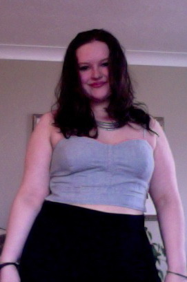 My name's Emma and I'm from Ottawa, Canada. I'm 18 years old and a US size 14. I posted this last summer in a clothing review on an item from American Eagle (on their product page) because I was so fed up with no one larger than a medium posting a review! I figured since I was frustrated with the lack of opinions of how AE's clothes fit on curvier girls, I would post my own to help those like me out. This was my first crop top…AND almost a full body shot. This was a big step for me because I've never liked my arms. Despite growing up in a pro-skinny culture, I love my body and encourage everyone to be proud of themselves the way they are.