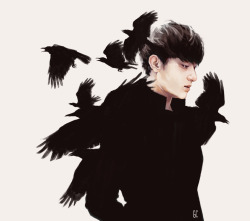 cakegege:  genicecream:  crow boy tao by me  zitao first sees the birds when he moves into the orphanage. he's thirteen, and each time he breathes, zitao can still smell the disinfected scent of the hospital he'd left, the stench of illness seeping through the cracks, and so he spends most of his time outside alone, for the fresh air. before, when he'd still been living with his parents, zitao had been a bit of a loner, one of the quiet boys that sat in the back, that ate lunch alone and spent recess reading under the slide. at first it was because of the language barrier when they moved, and then later just because that's how he was. it's not any different here, solitary meals and playtime, though there's more quiet kids like zitao than before. it makes sense, zitao thinks: there's less to talk about when you haven't got a home.  Read More