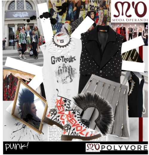 Awesome Punk!!!! van julietav met knee length skirts ❤ liked on PolyvoreDr. Martens straight jacket, $1,790 / Givenchy  / Thom Browne knee length skirt / Dr. Martens  boots / Eddie Borgo chain necklace / Diamond ring / M'O Vintage Girl Trouble Tee