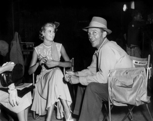 Grace with Bing Crosby on the set of to catch a thief.