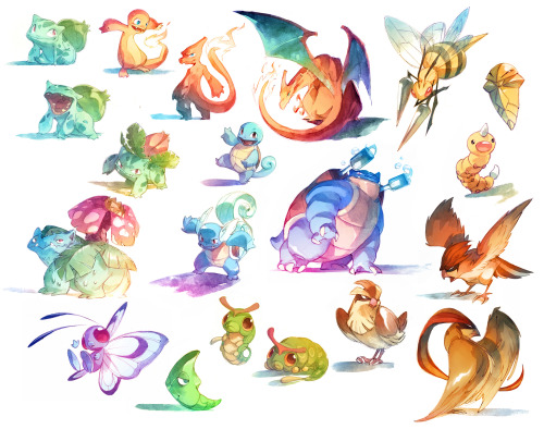 Watercolor Pokemon! 001-018 by *nicholaskole Follow *nicholaskole on Tumblr!