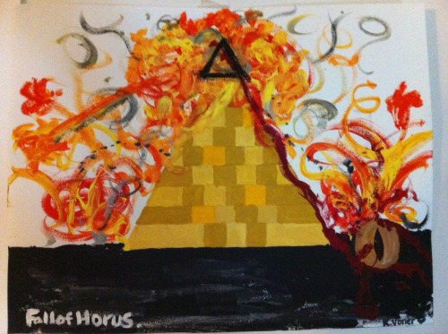 One of my paintings (yes I'm going back to paint haha) The Fall of Horus