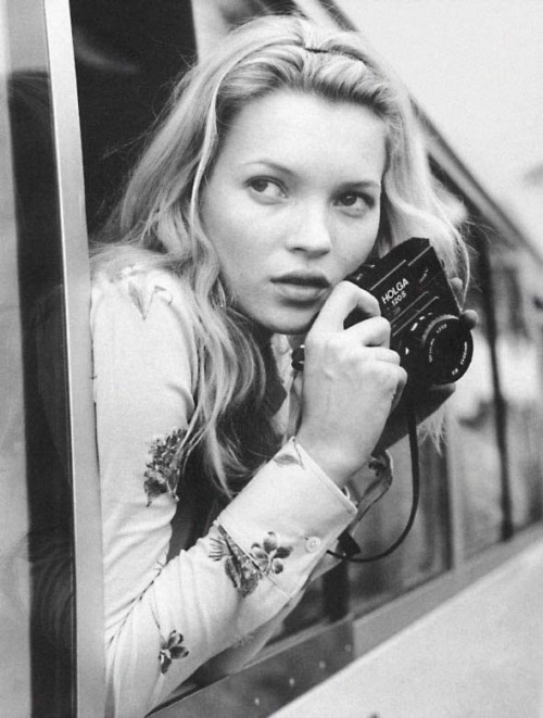 deprincessed:  Kate Moss plays photographer shot by Bruce Weber for Vogue Spain June 1996