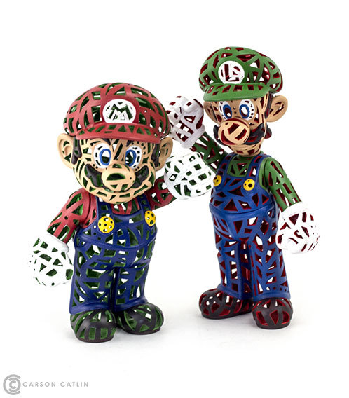 "Reticulated Mario & Luigi from Carson Catlin Carson Catlin has 1-upped himself this time. He's customized these Mario and Luigi toys for Game On in San Francisco. Love 'em more than 'shrooms and facial hair? Plunk down 500 coins for one of the figures or 900 for both at the show on March 22. Check it: More Carson Catlin customs on AlbotasBuy: Tanooki Suit Mario 8"" Plushy"