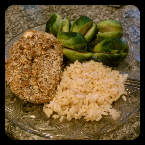 ALMOND CRUSTED CHICKEN BREAST!!  1. Clean chicken breast, boil water, add black pepper and garlic powder in boiling water then add chicken.  2. Boil for about 20 mins. Chicken should be nice and moist.   3. Grind almonds  4. Mix chia seeds, flax seeds, pepper/garlic powder to the grounded almonds  5. Brush dijon mustard all over chicken breast  6. Bread the chicken with the almond crust.  7. Bake chicken in the oven for about 15 mins or until both sides are golden.   Too good!!!!!!! No oil, no frying and no grease! Enjoy!!