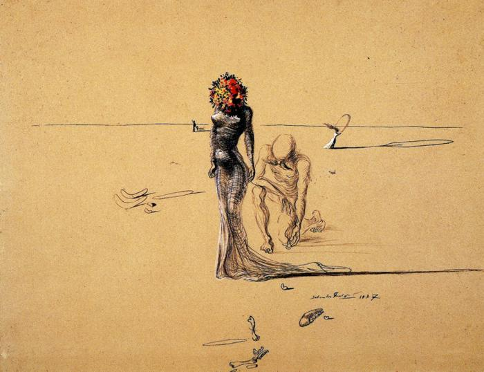 theopeningofthetrunk:  Woman With Flower Head Salvador Dali