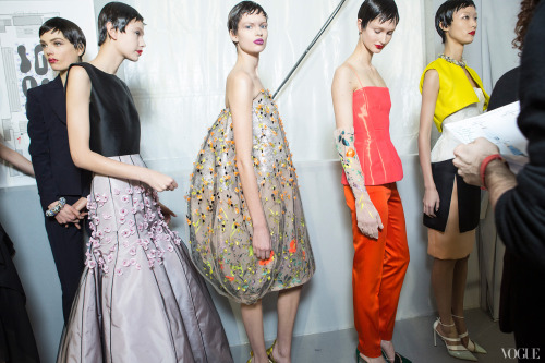 vogue:  Christian Dior Spring 2013 CoutureVogue's View: Behind the Scenes at Spring 2013 Couture Fashion WeekPhotographed by Kevin Tachman See the slideshow