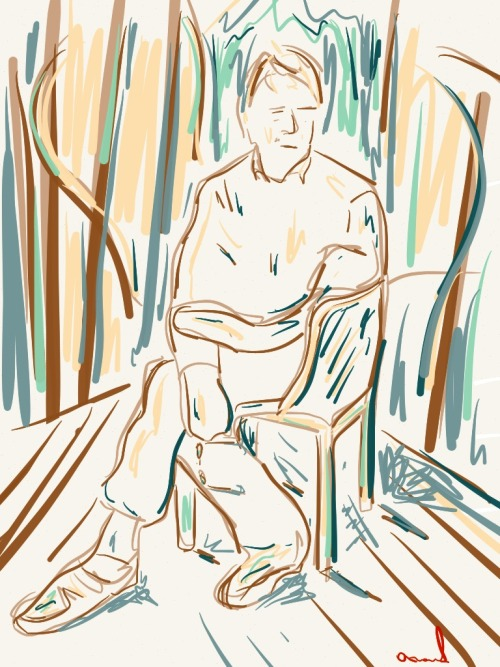 akhmadbaev:  Man on chair (2013) (digital. painting, paper app)
