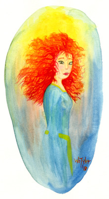 A warmup watercolor sketch of Merida from Brave.