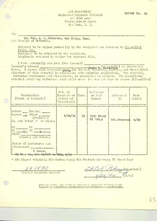 "Receipt of ""material"" at Oak Ridge, from Manhattan Engineer District in New York."
