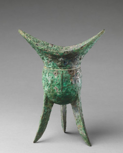 aleyma:  Ritual wine vessel (jiao), made in China in the late 11th century BC (source).