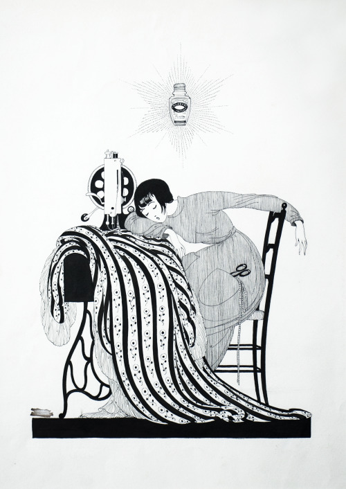 Sweet dreams everyone! The Sleeping Seamstress, Ad for Globéol by Gerda Wegener c. 1915