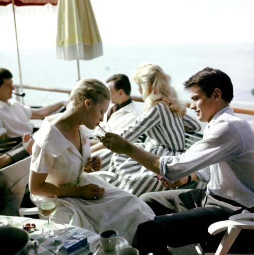 mimbeau:  Alain Delon and Romy Schneider at Cannes 1959