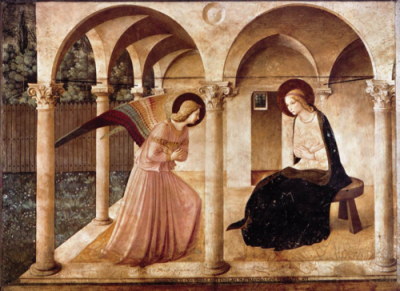 cavetocanvas:  Fra Angelico, The Annunciation (Convento di San Marco, Florence), 1450 Things to think about when studying: How is Fra Angelico's depiction of Mary different than other ones from his time? What elements of this work make it unique to the artist?