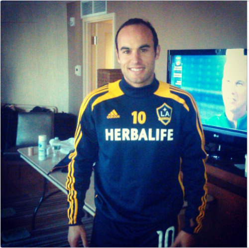 theworldsgame:  The internet is just loaded with good news today. Landon Donovan has emerged from the wilderness and rejoined the Los Angeles Galaxy for training this morning. This shot was posted to the official team Instagram account.
