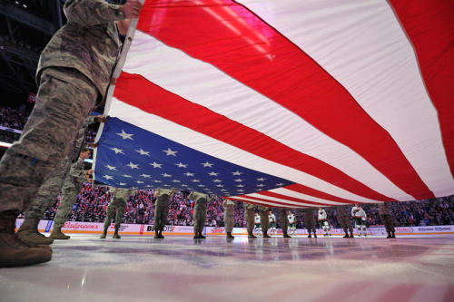 Sweet shot from military appreciation night in Columbus   Gaborik & Leighton's first home game as Jackets