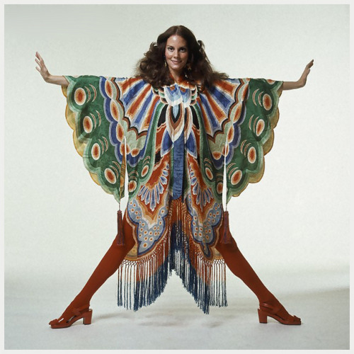 Photo Bert Stern 1971 by © Plesurephoto on Flickr.Via Flickr: Lesley Ann Warren wearing colorful butterfly wing kimono with fringe at hem by Adolfo with red tights and sandals 1971