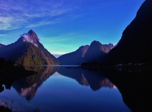 This morning at Milford Sound, New Zealand. I arrived yesterday and it was storming hard, but I trusted the weather forecast and booked a cruise for the next day anyway.  It turned out to be a pretty good call -  this is one of the wettest regions in the world, and you couldn't have asked for more perfect weather.