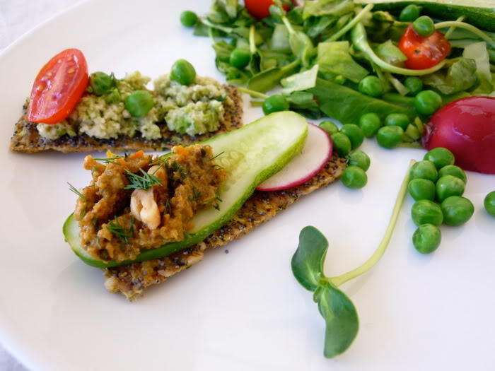 Nut and Zucchini Crackers with Cauliflower Green Pea Spread by G0lubka