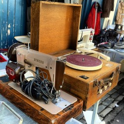 artcomesfirst:  Vintage player & sewing machine, Brighton, 2013