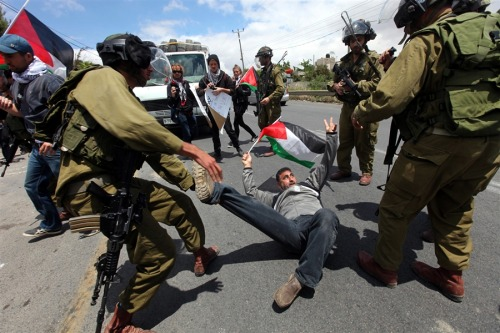 Palestinian protesters are attacked by Israeli occupation soldiers following a rally marking Nakba Day in Beit Omar village, north the West Bank city of Hebron, on May 15, 2013.