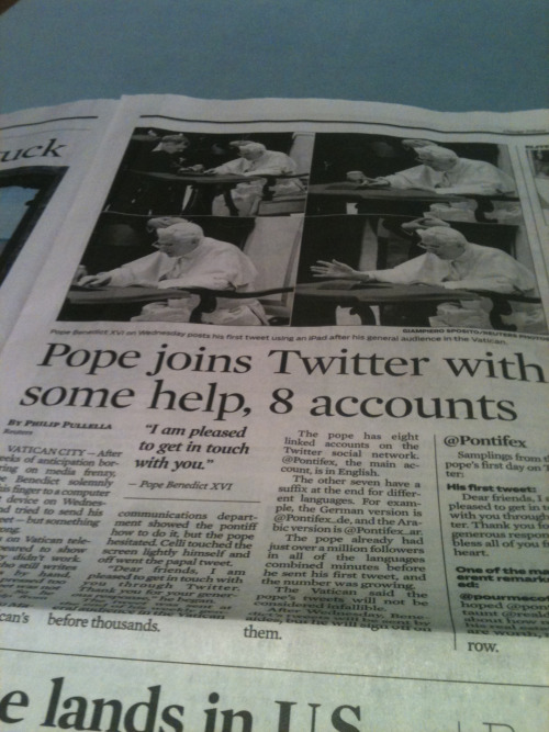 You know, you should use Twitter if the Pope does. Cheers!