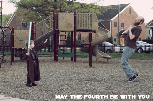 When taking Tiny Vader to the park, telling him it is time to go when he isn't ready isn't an advisable action…  May the Fourth Be With You
