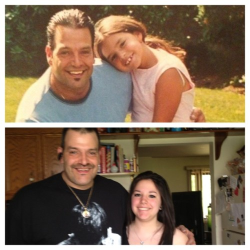 Transformation Tuesday (father edition). I've always been a daddy's girl. I always will be. He's spent so much money just so I could go meet my favorite bands. He's spent countless of dollars on barbies, bratz dolls, Polly pockets, and webkinz even though he knew it would just be a phase. He's stood by me through thick and thin, even when he was in Florida for roughly 5 years. My dad always wanted me to be happy, and truth is, with him supporting me, I am. My father means so damn much to me it ins't even funny. He loses sleep so I can meet band members at 2 am in the morning. The top picture is roughly ten years ago, and the bottom is from last Tuesday, when we saw Asking Alexandria together for the third time. And we meet AA for the third time that night. I'm proud to say that my dad knows a shit ton of their songs, and yes, he IS wearing a Mitch Lucker memorial shirt.