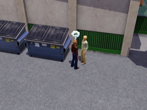 My sim was at the grocery store when I noticed these guys in the alley out back.  They were joined by a third guy, argued about a fourth guy, and tombstones and money came up a lot. I think I just witnessed someone order a hit.