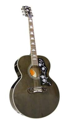proguitarshop:  This is pretty close to my dream Gibson. Mix in some Everly (what, I like star inlays, okay?!) and hand it over… wgcheadfood:  Gibson Acoustic Transblack SJ-200 (with black mother-of-pearl in the pickguard) Would so love to play and record with this guitar