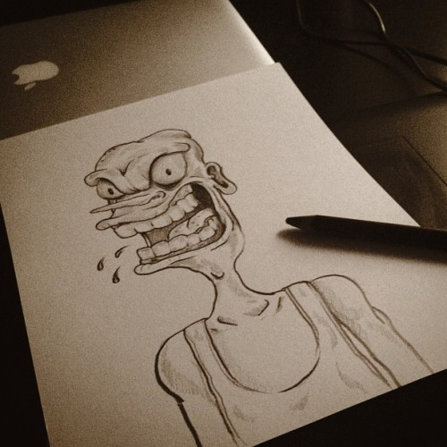 #doodle #drawing #sketch #shading #illustration #scream #ugly #pencil #desk #apple