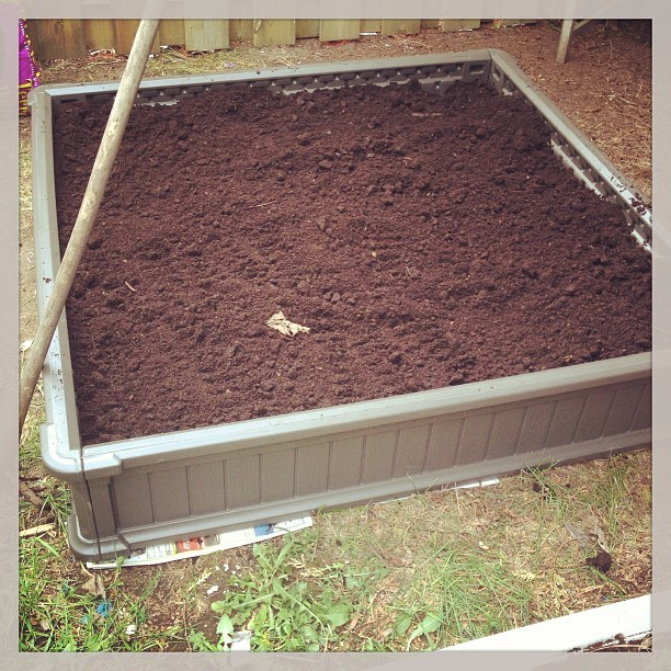 Amazing new raised garden bed is set up and ready! Thanks mike ! <3 #runblr #fitblr #garden #gardening