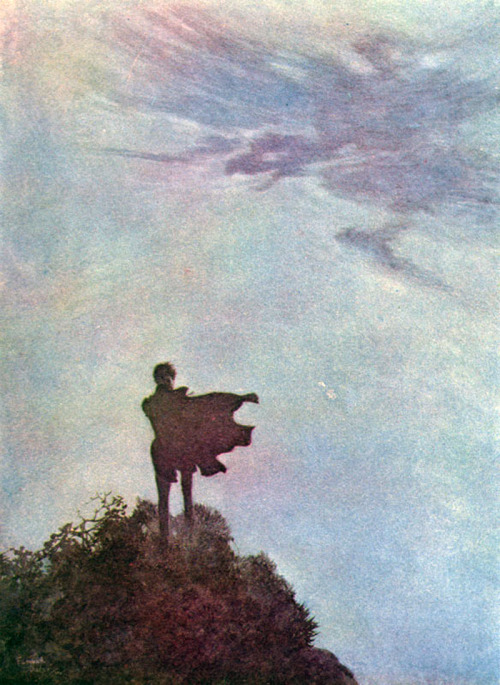 Edmund Dulac - Illustration for Edgar Allan Poe's poem Alone (1912)