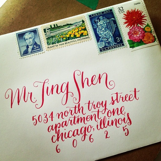 Wedding invitation letter from @tweats and @tylertiggs before it's mailed, calligraphy by the amazing @francesblank . I guess I'll have to wait till in comes in the mail. #weddings #hipsters #life #art and also #christians