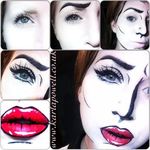 A step by step guide to how I created my popart inspired makeup look you all seem to love tonight!  *Block brows   * Apply Illamasqua Skin Base mixed with KryolanOfficial cream silver body tint. The black outlines were created with Lime Crime makeup Unilers (black) & Superstar Black face paints. *On the eyes I used We Are Faux Lashes on the top lash line leaving the bottom lash line mascara free. *Finally the lips were created with The Face Painting Shop Superstar face paints in red,white and black.  My top tip doing something similar is to study the actual Pop Art images not the makeup looks of the pop art people have done. You will be more inspired this way! I can't wait for Friday's photoshoot now I have had a such a great response on this look.  Karla X