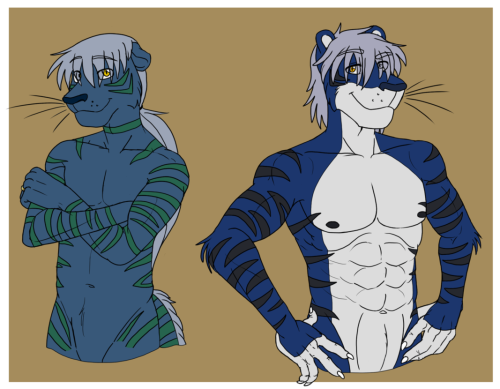 Comparison drawings of a friend's characters. Kre'ul (left) Azure (right).