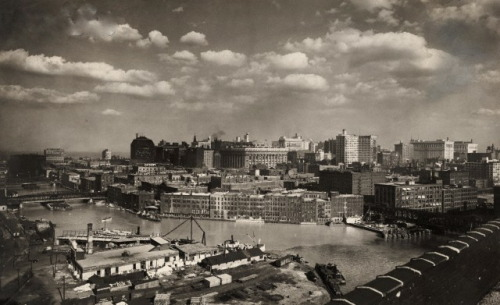 Looking south east from Wolf Point, 1919, Chicago.