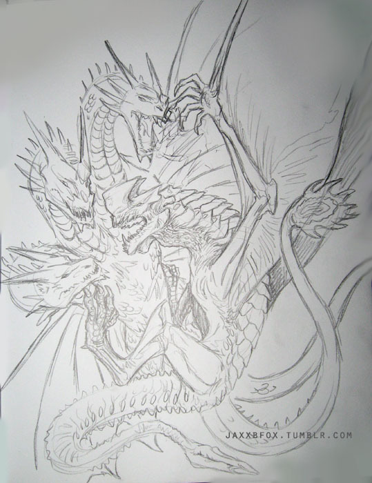 Photo of the super rough pencil sketch I worked on today. Maybe eventually when I have time I'll clean it up a bit and throw some digital color on it…. we'll see.Still playing with that Otachi vs King Ghidorah idea… lol