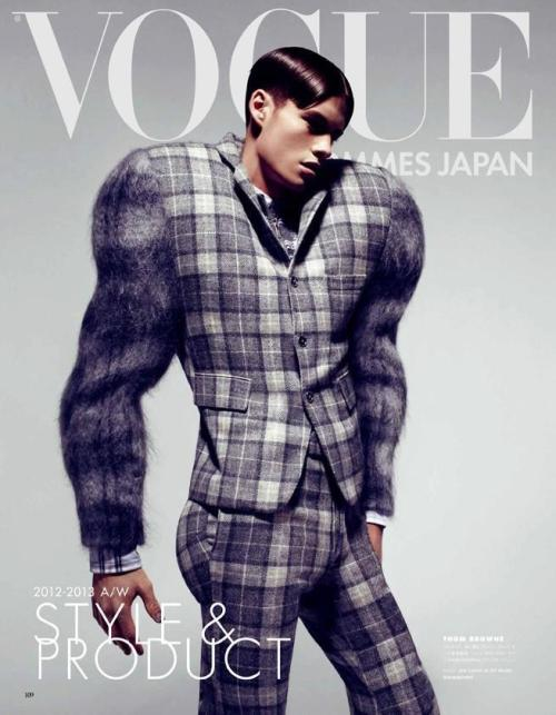"Fall 2012 Mohair & Shetland Plaid ""Jock"" Suit featured on the cover of VOGUE HOMMES JAPAN"