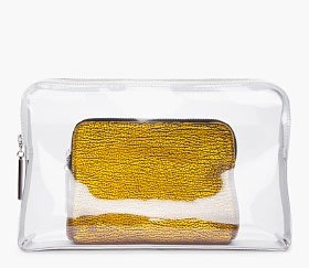 annasheffield:  obsssssssssed with this! recipe: one part gold zip wallet one part transparent clutch one tiny snap for attaching to a larger case equals three times amazing!