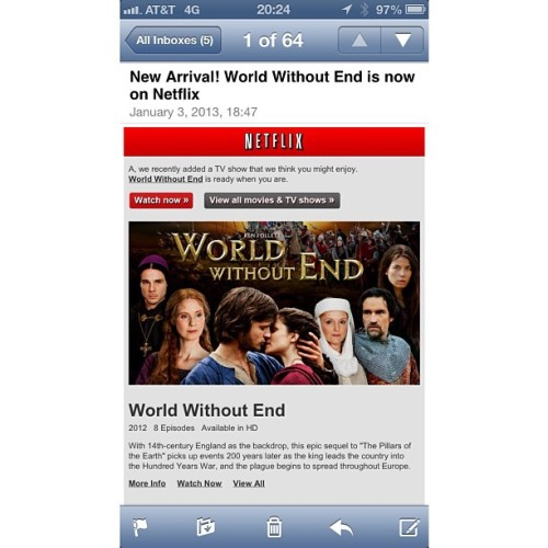 Well done, Netflix. #nowplaying #netflix #ipad #iphone #worldwithoutend #kenfollet #thewordonscreen
