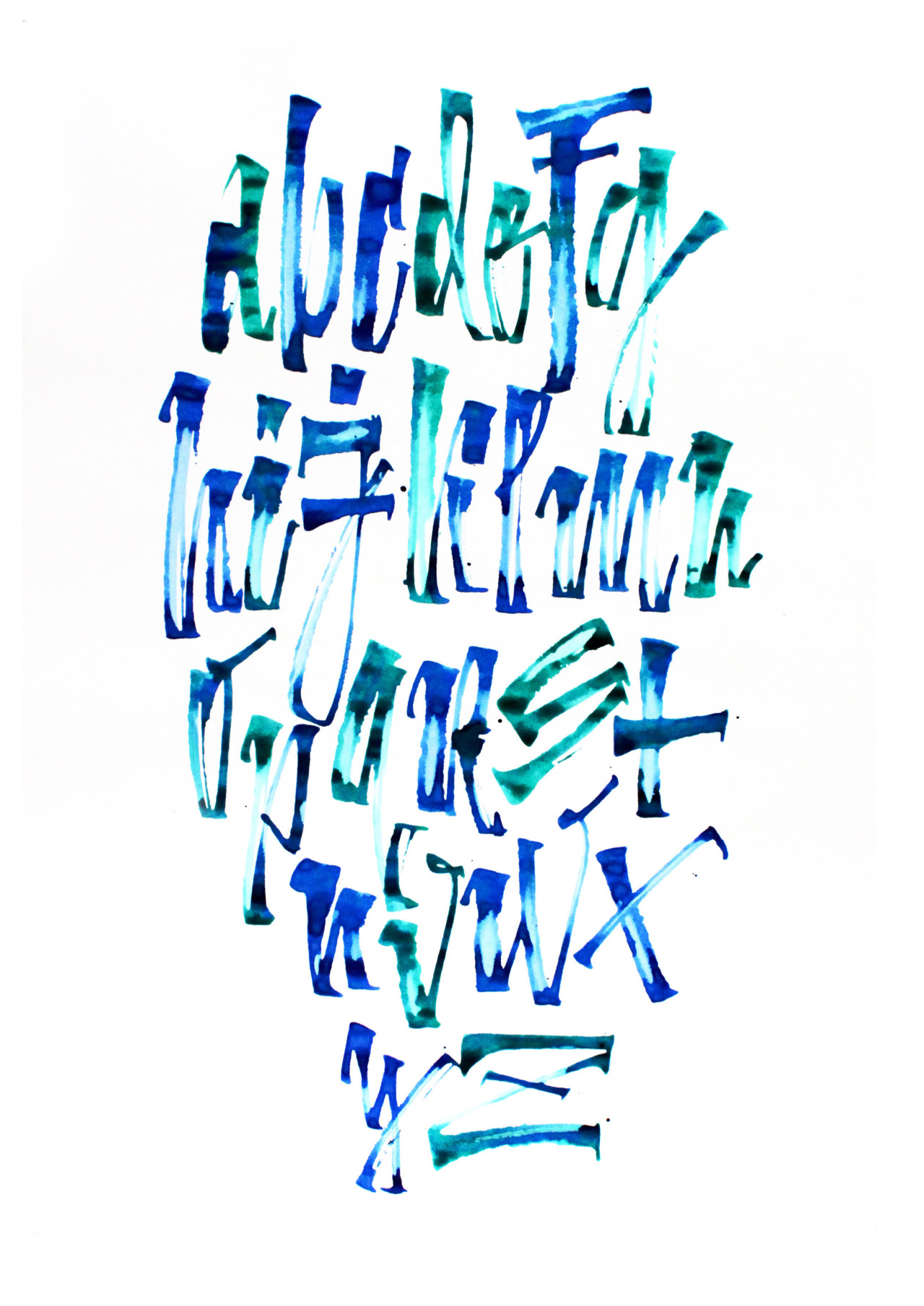 Calligraphi.ca - Alphabet - Ruling pen, ink mixed on papper - Misha Karagezyan