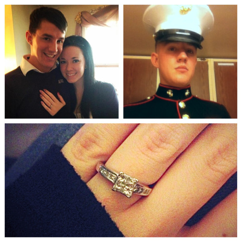 This is my marine. But to me, he's more than that. He's my bestfriend, my other half, my missing puzzle piece, and as of about 1:40 or so this afternoon, my fiancé. 