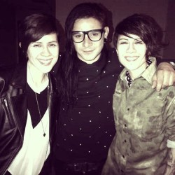 teganandsara:  Bumped into @Skrillex, side stage after our set @Coachella!