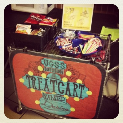 Stop by the 2nd Street lobby NOW for a study snack from the UGSS Treat Cart! (at NYU Second Street Residence Hall)