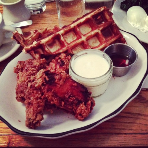 Chicken and waffles. The General Greene.