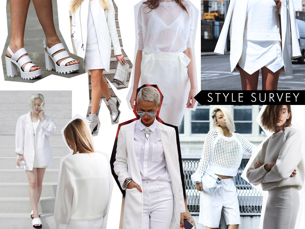STYLE SURVEY White is the new black, just ask some of our favorite street style stars. The monochrome trend has been popular for quite some time, but the ease and simplicity of a neutral shade over bright and colorful hues is refreshing. All this look needs is a white statement necklace and we've hit the heavens of trend-land.