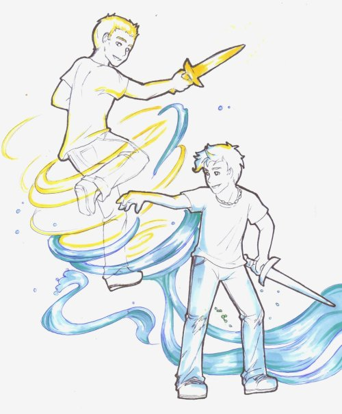 percabeth-perfection:  Percy and Jason Teamwork by ~griffon-rider-Ann