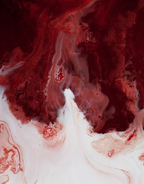 Photographs of blood and milk by  Frederic Fontenoy