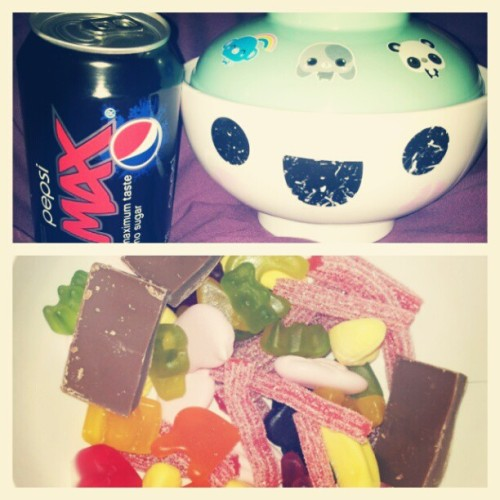 Having myself a solo Saturday night in recovering #flu #sweeties #Pepsimax #foodporn
